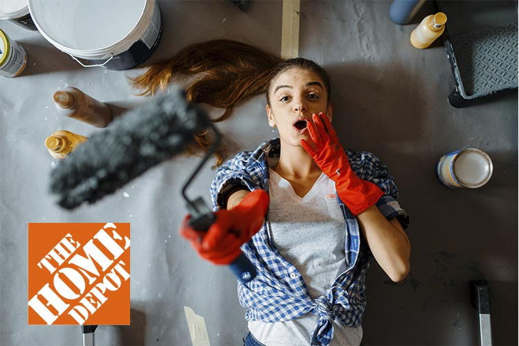 Home Depot logo with woman holding paint roller