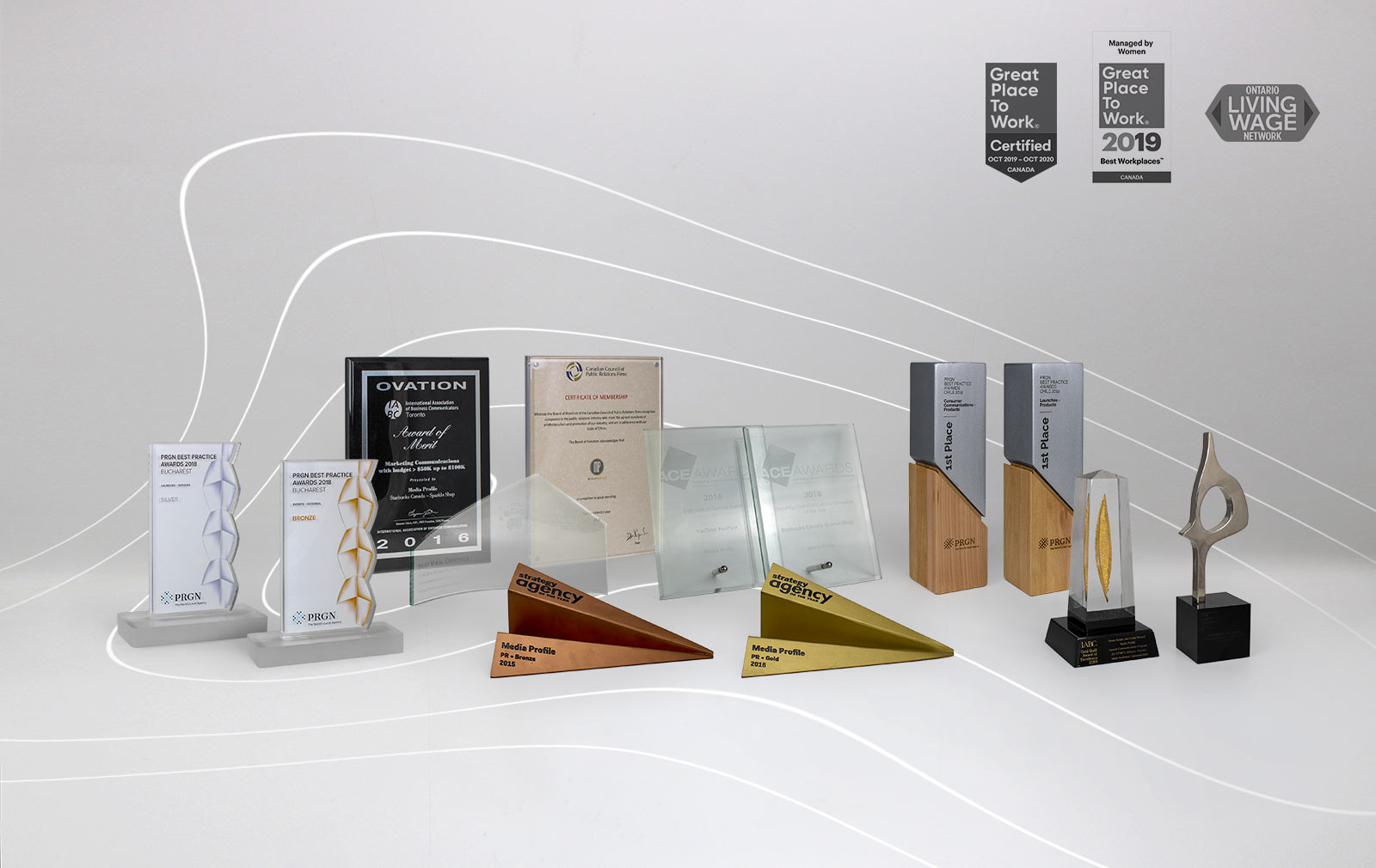 Awards and trophies on a white background