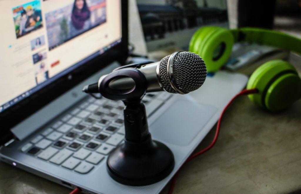 Audio Microphone sits beside keyboard